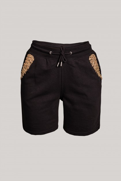 INTENSE BLACK EMBROIDERED SHORT PANTS