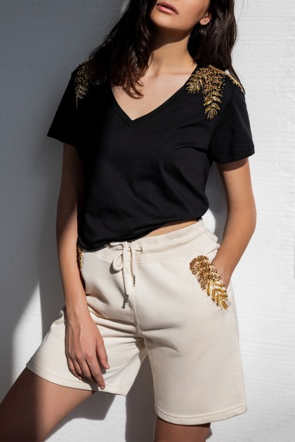 SOFT CREAM SHORT EMBROIDERED PANTS