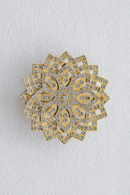 GOLD LOTUS BROOCH WITH CRYSTALS