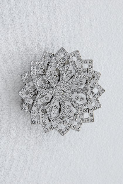 SILVER LOTUS BROOCH WITH CRYSTALS
