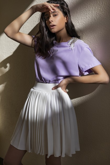 PURE LAVENDER ANGEL WINGS SHOULDER CLASSICAL NECKLINE T-SHIRT