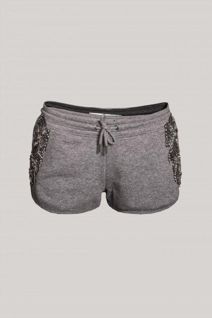 EXTRA SHORT DARK GREY EMBROIDERED PANTS