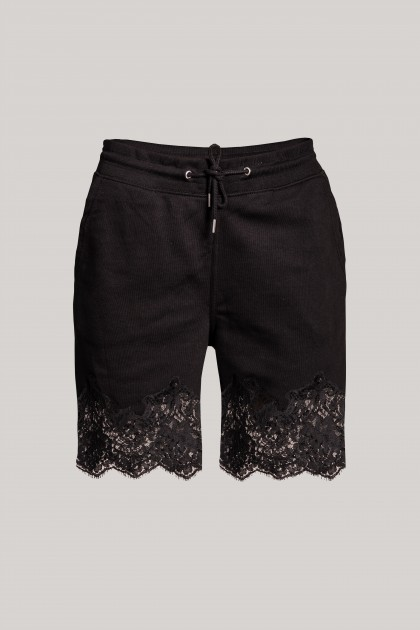 BLACK LACE INSERTS SHORT PANTS