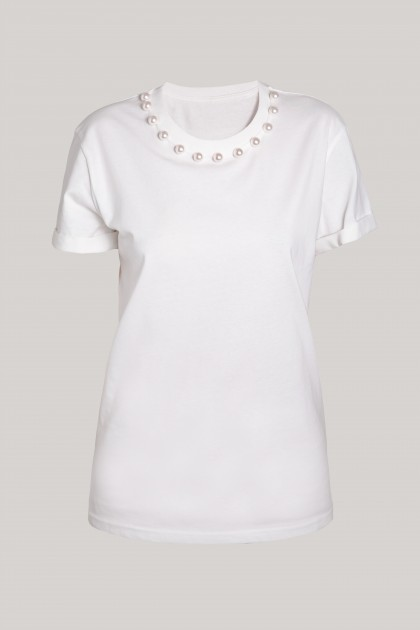 PEARLS NECKLACE WHITE ORGANIC COTTON T-SHIRT
