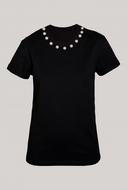 PEARLS NECKLACE BLACK ORGANIC COTTON T-SHIRT