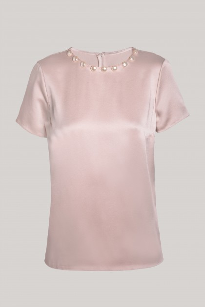 PEARLS NECKLACE PETAL SILK T-SHIRT