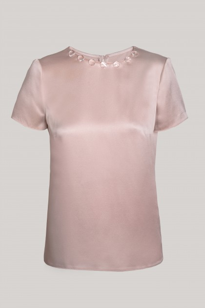 CRYSTALS NECKLACE PETAL SILK T-SHIRT