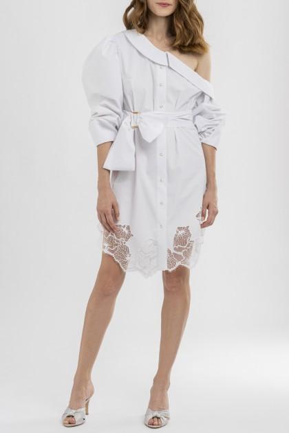 ONE-SHOULDER SHIRT COTTON DRESS