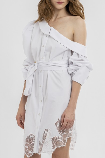 ONE-SHOULDER SHIRT DRESS
