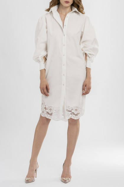 LACE PANEL SHIRT DRESS