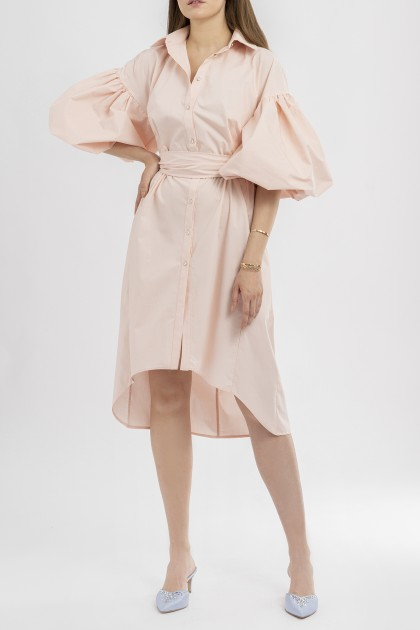 PUFF-SLEEVES ASYMMETRIC SHIRT DRESS