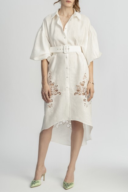 SHIRT MIDI DRESS WITH LACE INSERTS