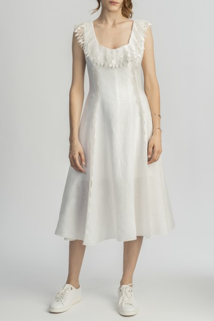 LINEN MIDI DRESS WITH RUFFLED NECKLINE