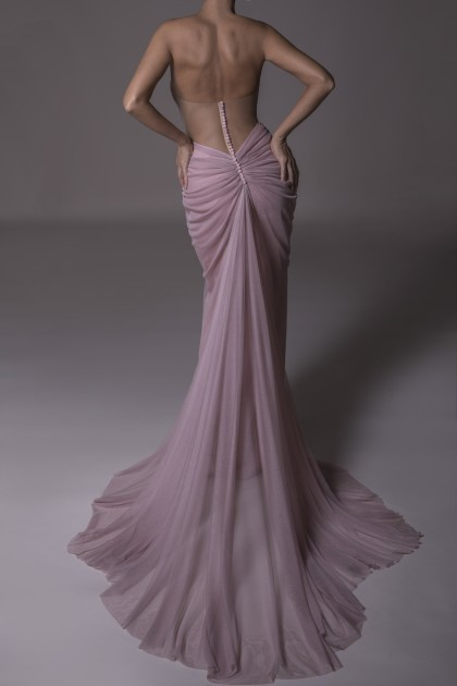 OPEN BACK SILK MERMAID LONG DRESS