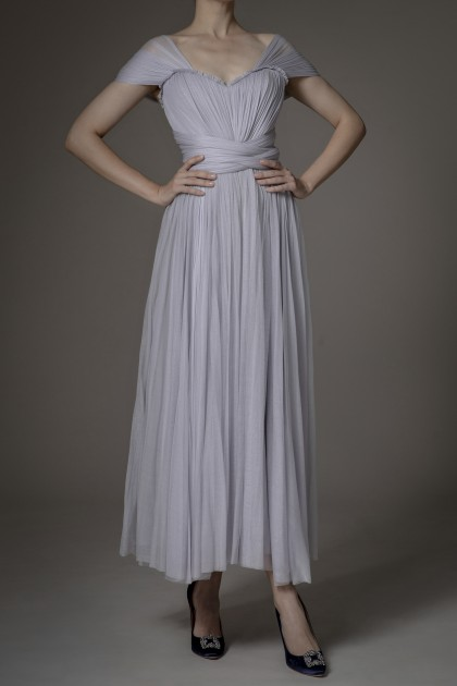 IMPERIAL TULLE SILK LONG DRESS