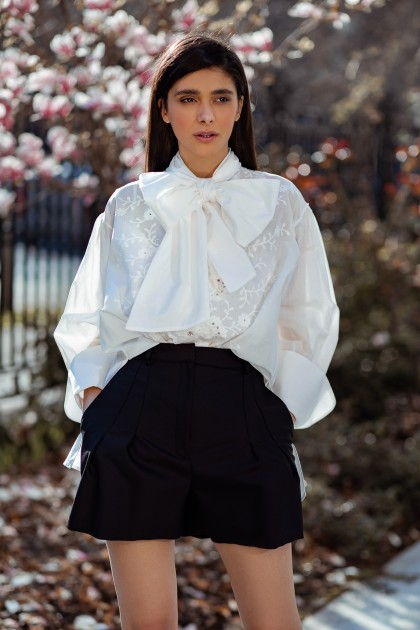 EMBROIDERED LACE COTTON SHIRT WITH BIG BOW