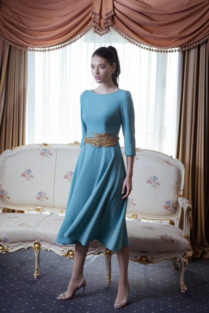 NICOLE CREPE DRESS WITH EMBROIDERY ON WAIST