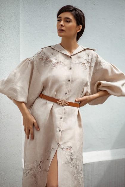 LACE EMBROIDERED LINEN SHIRT DRESS