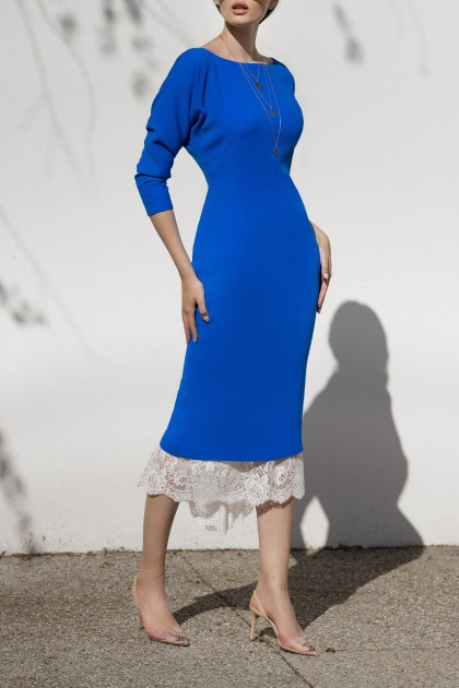 ELECTRIC BLUE ELEGANT DRESS WITH LACE SKIRT BELOW