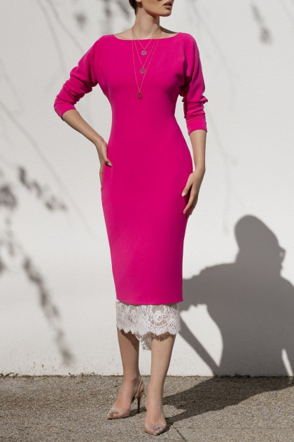 RASPBERRY ELEGANT DRESS WITH LACE SKIRT BELOW