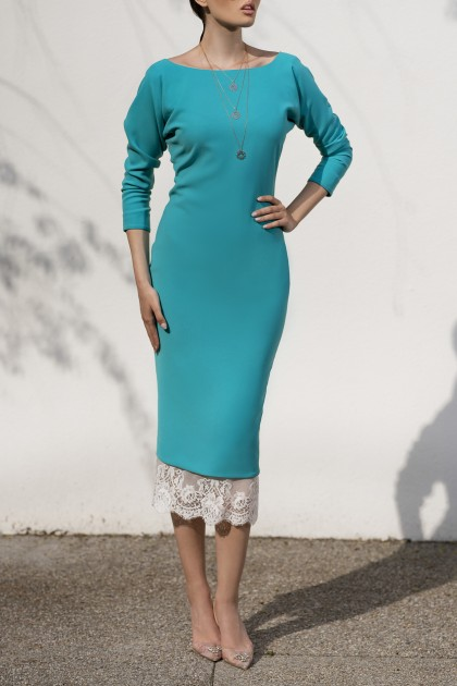 TURQUOISE ELEGANT DRESS WITH LACE SKIRT BELOW