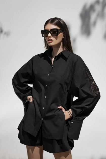 BLACK COTTON SHIRT WITH LUXURIOUS LACE INSERTS