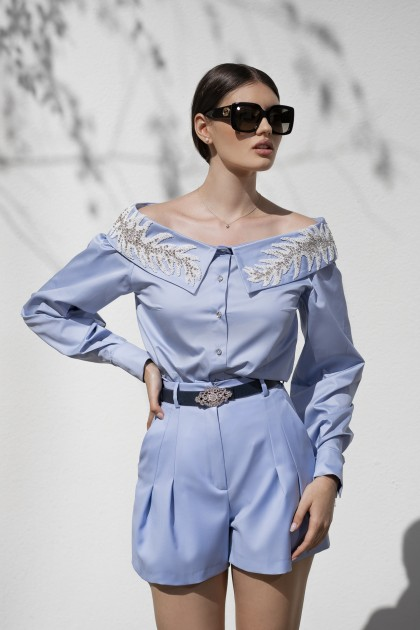 OFF THE SHOULDERS EMBROIDERED LIGHT BLUE SHIRT