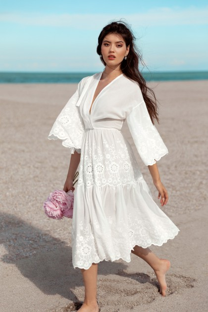 SUMMER LACE EMBROIDERED COTTON DRESS