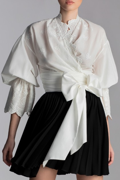 COTTON KIMONO SHIRT WITH PUFFY SLEEVES AND BOW