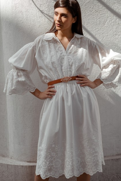 EMBROIDERED SHIRT DRESS WITH PUFFY COTTON SLEEVES