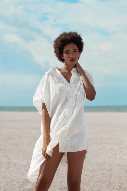 ASYMMETRICAL LACE EMBROIDERED SHIRT COTTON DRESS