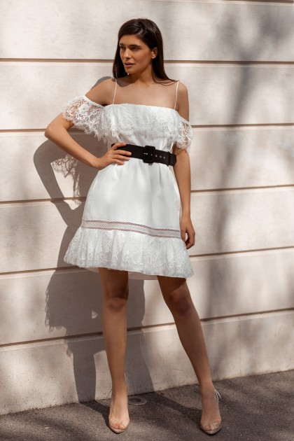 WHITE LINEN SHORT DRESS WITH SPAGHETTY STRAPS AND LACE INSERTS