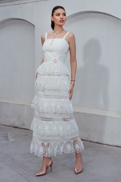 LONG LINEN WHITE DRESS WITH LACE INSERTIONS