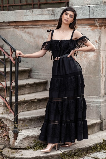 BLACK LONG LINEN WITH LACE INSERTIONS DRESS