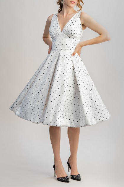 MARILYN DRESS WITH IVORY DOTS PRINT