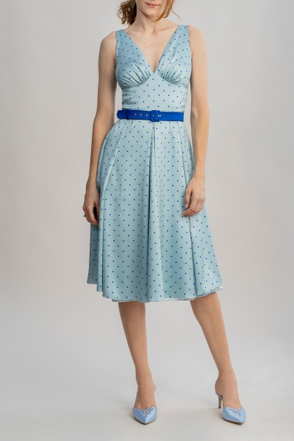 MARILYN DRESS WITH CARIBBEAN DOTS PRINT