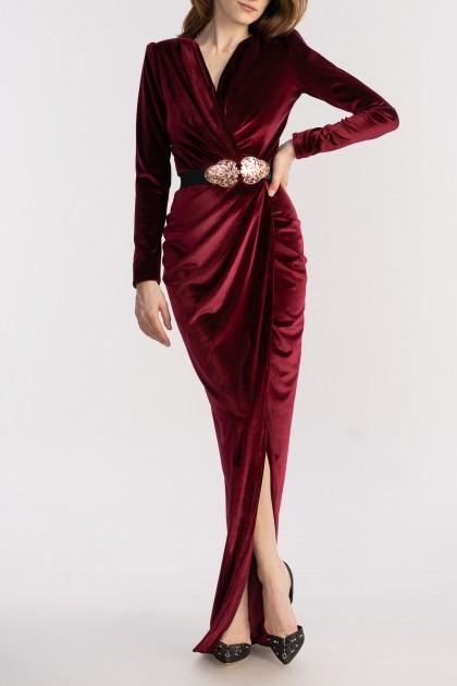 ESTELLE LONG VELVET DRESS